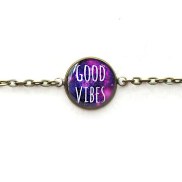 Nu Goth Galaxy good vibes Bracelet - Single Charm Chain Link Bracelet - Creepy Cute Pastel Goth Funny Antisocial Soft Grunge Jewelry