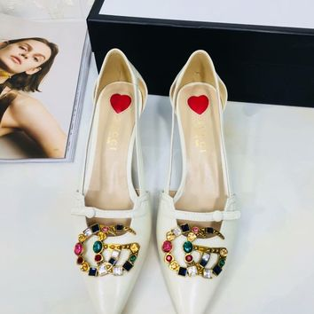 GUCCI:Fashion Bamboo heel Diamond Colorful Double G Pumps Hoolow Sandals White