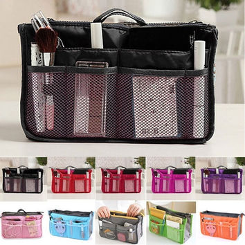 Practical Handbag Purse Nylon Dual Organizer Insert Cosmetic Storage Bag Fashion Hot Multifunctional Storage Bag Pocket For 11 Colours = 1696952004