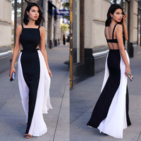 Black and White Backless Cut-Out Maxi Dress