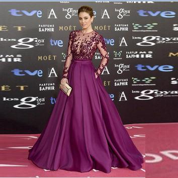 Fashion See Through Purple Prom Dresses 2017 Long Sleeve Appliques Beading High Quality A-Line Robe De Soiree