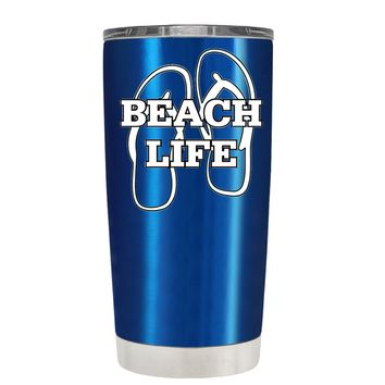 The Beach Life Sandals on Translucent Blue 20 oz Tumbler Cup
