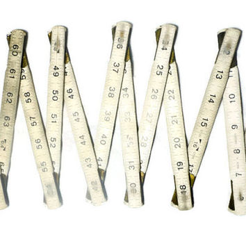 6 Foot Folding Ruler, Wood Measuring Stick, Vintage Extendable Woodworker's Measure - White