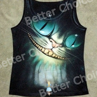 Track Ship+Fresh Vest Tanks Camis Smile Tooth Ghost Cheshire Cat Alice Alice's Adventure in Wonderland 0444