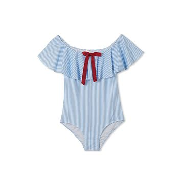 Blue Striped Red Bow One Piece Swimsuit (Kids)