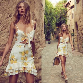 Lemon printing bowknot condole belt skirt in summer