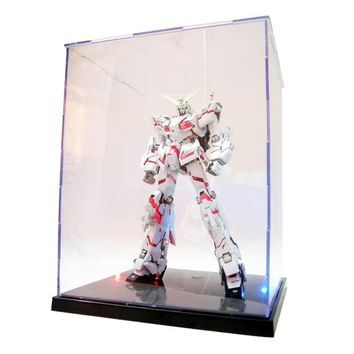 Clear Acrylic Display Box With Colorful Light Dustproof Action Figure Showcase-m15