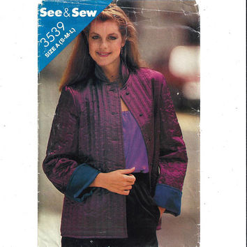 See & Sew Butterick 3539 Pattern for Miss Lined Jacket, Size S-M-L, FACTORY FOLDED, UNCUT, Vintage Pattern, Home Sew Pattern, 1980 Fashion