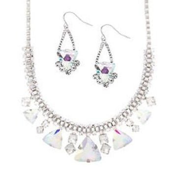 KATY PERRY PRISM Crystal Gems Statement Necklace and Drop Earrings Set NWT