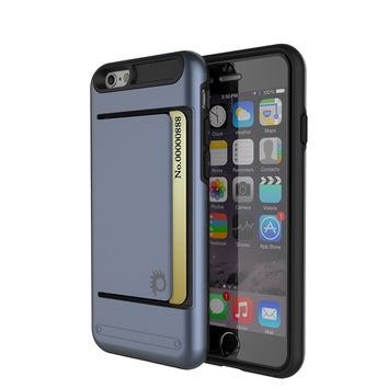 iPhone 6/6s Plus Case PunkCase CLUTCH Navy Series Slim Armor Soft Cover Case w/ Tempered Glass