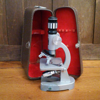 Vintage Junior Student Jason Microscope With Brown Leather Case Science Decor