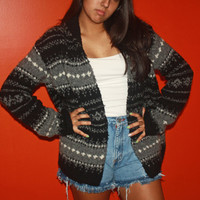 90's tribal grey cardigan.