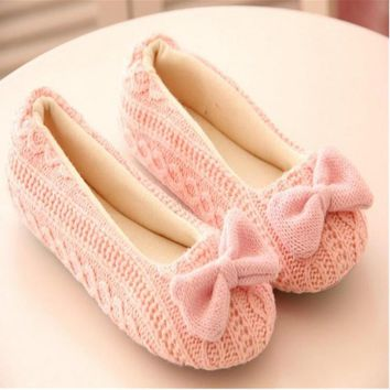 Warm Soft Sole Woman Indoor Floor Slippers Autumn Winter Home Shoes Womens Crochet Bow