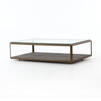 MARVA SHADOW BOX COFFEE TABLE - ANTIQUE BRASS