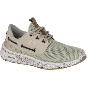 DCK7YE Men's 7 Seas Camo Boat Shoe in White by Sperry
