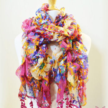 Womens patterned MULTICOLOR scarf with wattle leaf edge - shawl neckwarmer - pastel