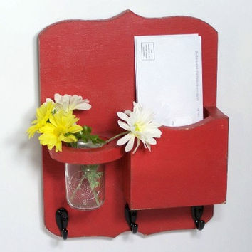 Mail organizer, floral vase, mail holder, key hooks, vintage, sconce, home organizer, distressed, shabby chic, home decor,painted Rich Red