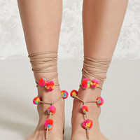 Self-Tie Pom Pom Anklet Set