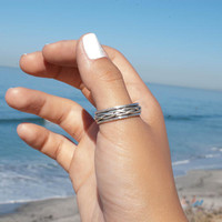 Spinning Ring ~ Thumb Spinner ~ Meditation ~ Yoga ~ Anxiety ~ Anti Stress ~ Thin Band ~ Sterling Silver 925 ~ Handmade ~Braided ~Gift~MS013