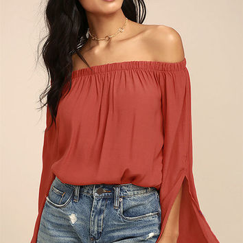 Campfire Songs Rust Orange Off-the-Shoulder Top
