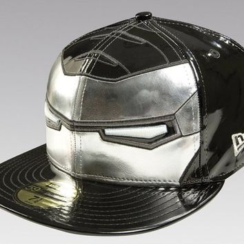 Iron Man 2 War Machine New Era fitted hats (BLACK/SILVER)  - Marvel/DC Comics New Era Hats - War Machine Custom Fitted Hats