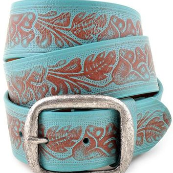 Vintage Embossed Floral Turquoise Leather Belt