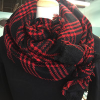 Blanket Scarf : Black & Red Plaid Chiefs fan