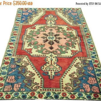 ON SALE Vintage Turkish Oushak Rug With Medallion 85 x 55 inches Free Shipping
