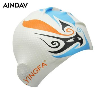 Silicone Unisex Particle Swimming Caps Men and Women Swimming Hat Pool Wear Protect Ears Durability Swim Bathing Cap