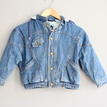 Kids Denim Jacket Aviator Jacket Hooded Jeans Jacket Vintage Size 4 to 5 years old #C069A