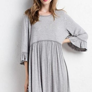 Let's Brunch Babydoll Dress - Grey
