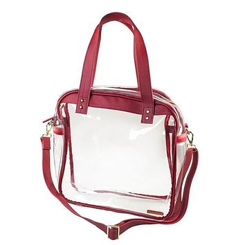 Clear Carryall Tote | Crimson