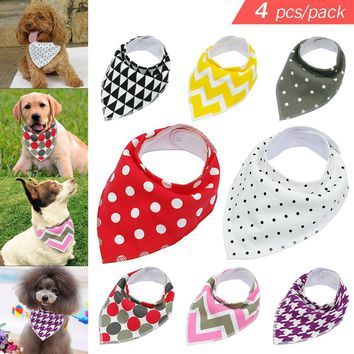 Dog Scarf Bandana Pet Bandanas Collar Scarf Puppy Neckerchief Bibs For Small Medium Large Dogs Accessories 4 PCS/PACK