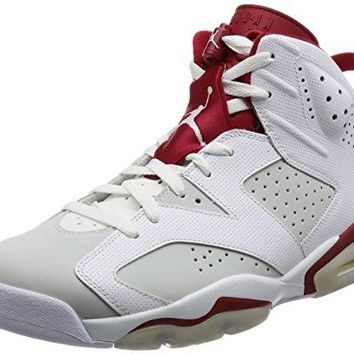 Nike Jordan Men's Air Jordan 6 Retro White/Gym Red/Pure Platinum Basketball Shoe 11 Men US  air jordans in white