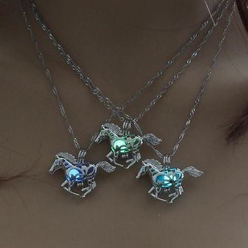 New Hot Sale Smart Running Horse DIY Locket Cage Glowing in the Dark Animal Pendant Necklace