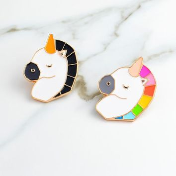Black Colorful unicorn Pin Brooch Shirt bag cap Jacket Pin Badge Cartoon animal Jewelry Birthday Gift for Kids Friends