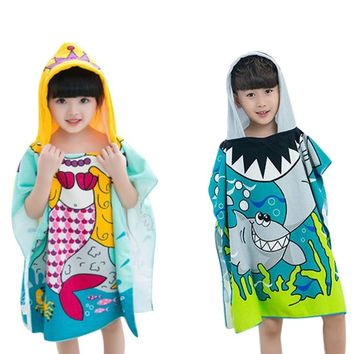 Summer Kids Towel 2018 Toddler Children Hooded Polyester Beach Towel Boys Girls Mermaid Shark Pattern Cartoon Bath Soft Towel
