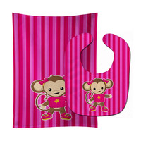 Monkey on Pink Stripes Baby Bib & Burp Cloth BB7020STBU