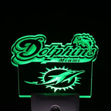 ws0125 Miami Dolphins Footbal Bar Day/ Night Sensor Led Night Light Sign