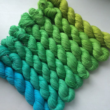 Gradient yarn set-  Royal alpaca, handdyed yarn 350 g- hand painted dyed sock shawl ombre -Tropical summer!
