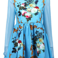ROMWE | Sheer Sleeved Floral Dress, The Latest Street Fashion