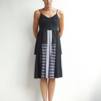 Tank Top Dress / Black / Gray / Soft / Cotton / Upcycled / Recycled / Fashion / Handmade / Fun / For Her / Spring / ohzie