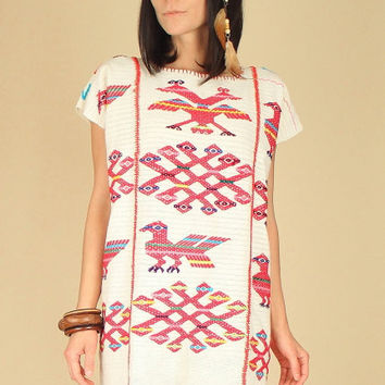 ViNtAgE 70's OAXACAN Mexican ARTISAN Made Hippie Mini Dress Woven Tribal Caftan Huipil o/s