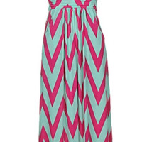 Ocean Breeze Maxi Dress - Mint and Fuchsia