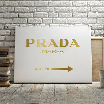 PRADA MARFA SIGN,Prada Decor,Prada Gold Design,Prada Wall Art,Prada Gossip Girl,Printable Wall Art,Office Decor,Fashion Art,Modern Art,Quote