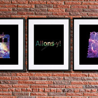 | Allons-y! |Doctor Who Inspired Poster Art | Set of 3 | 8x10 Instant Download Printables | Tardis, Dalek & 10th Doctor quote