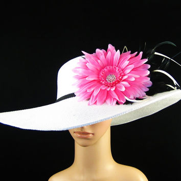 Derby Hat Dress Hat Wedding Hat WHITE Wide Brim Hat Womens Hat Tea Party Hat Horse Race Ascot Church Hat Kentucky Derby Hat