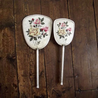 Vintage mirror and brush / 1950s  / mid century / dressing table mirrors/ floral decor / beauty
