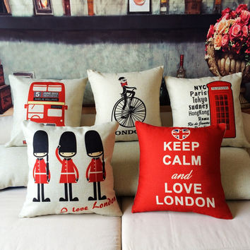 Paris NYC Keep Calm and Love London Collection Throw Cushion Covers for Home & Store Décor 40x40cm