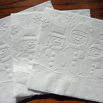 25 White Snowmen Embossed Paper Napkins - Snowflakes - Holiday Party Napkins - Cocktail Napkins - Holiday Party Decor